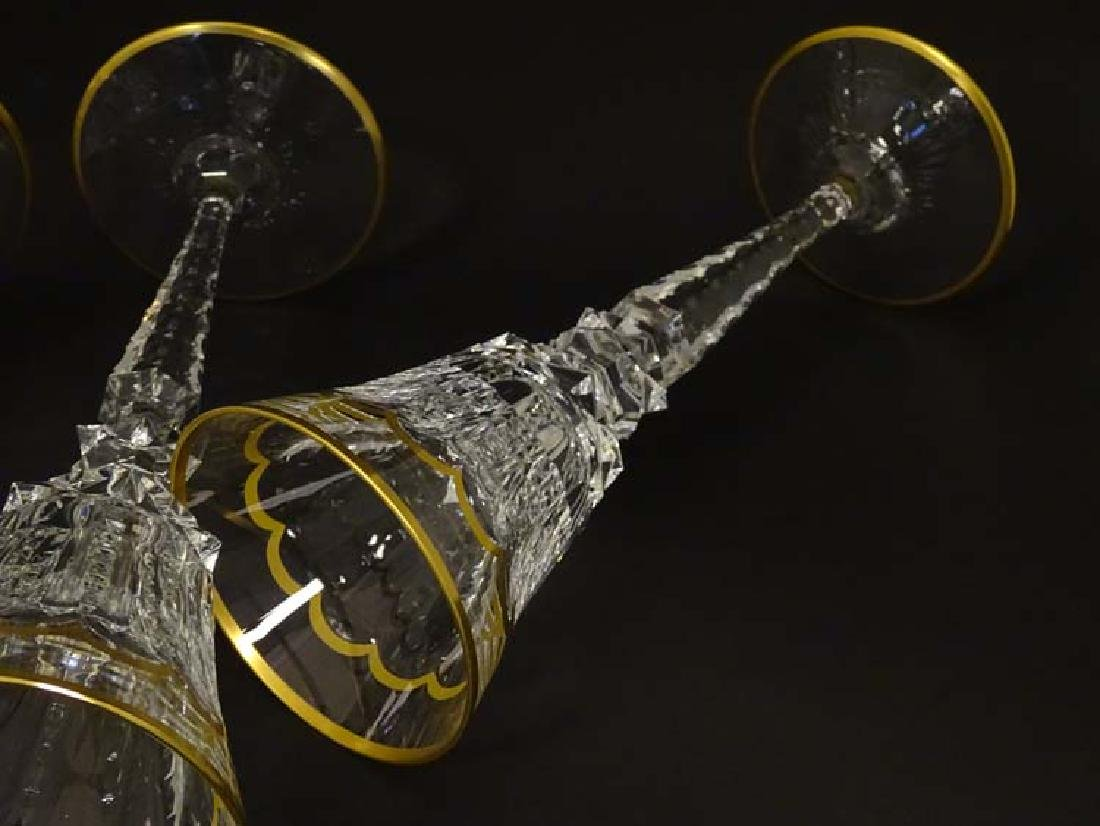 Glass : St. Louis , France a set of 4 crystal long stem - 2
