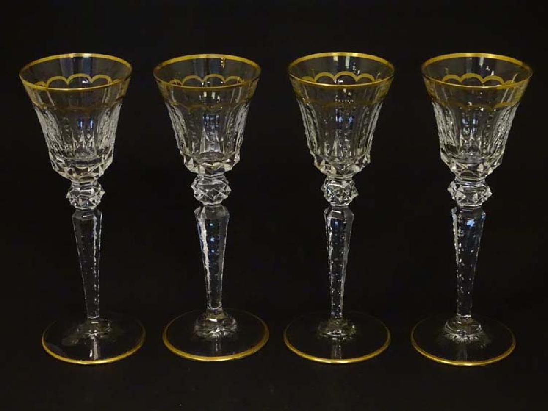 Glass : St. Louis , France a set of 4 crystal long stem - 3