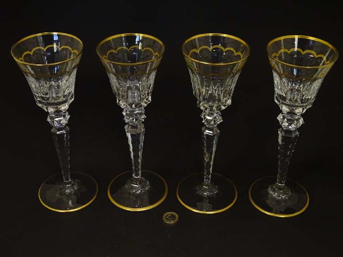 Glass : St. Louis , France a set of 4 crystal long stem - 4