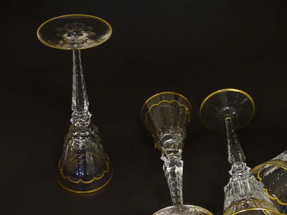 Glass : St. Louis , France a set of 4 crystal long stem - 5