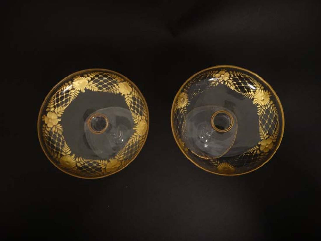 Glass : a pair of Art Deco champagne saucers with gilt - 3