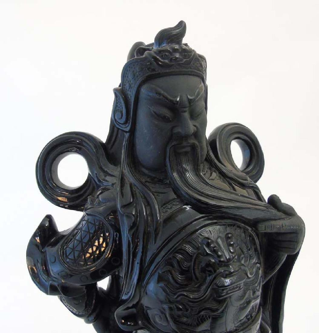 A Chinese carved polished black hard stone figure of - 5