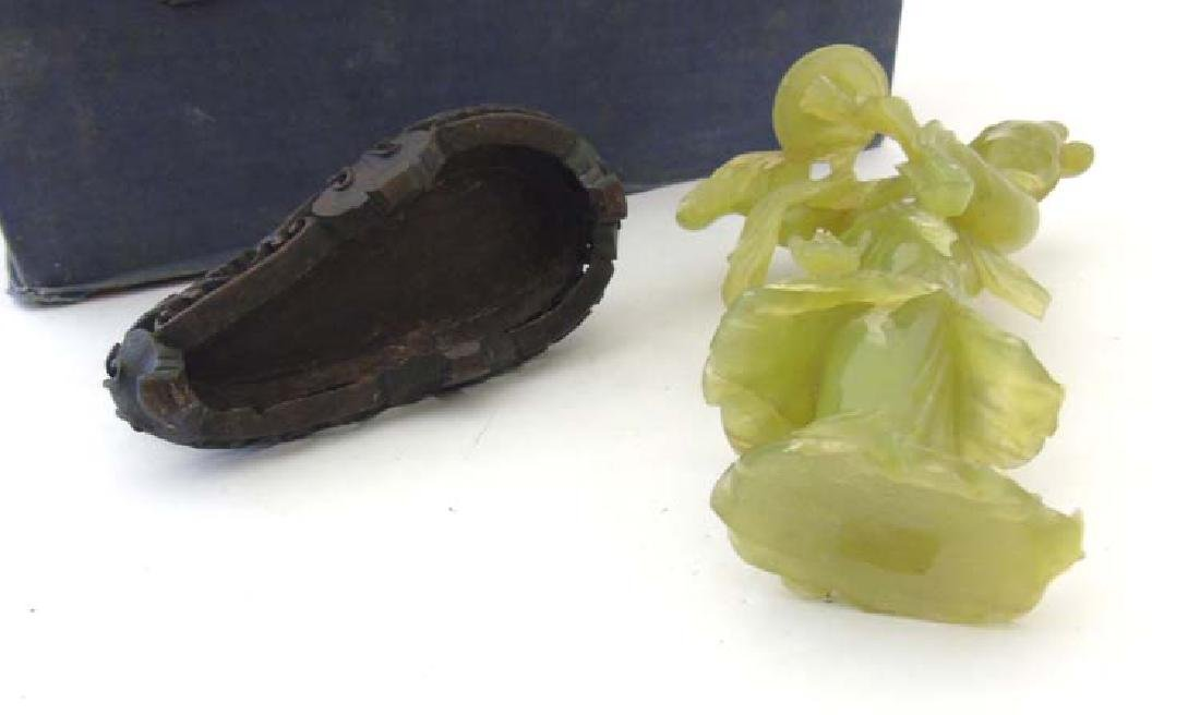 A Chinese jade / jadeite figure and stand, 9 3/4'' high - 2