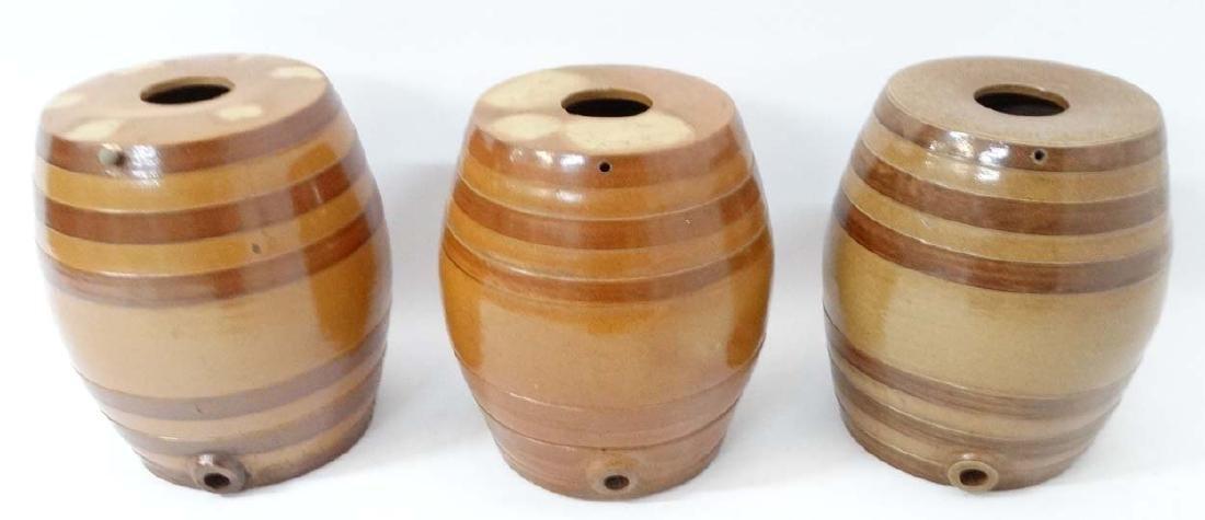 Three Stoneware salt glazed 6 gallon barrels. 16 1/2''
