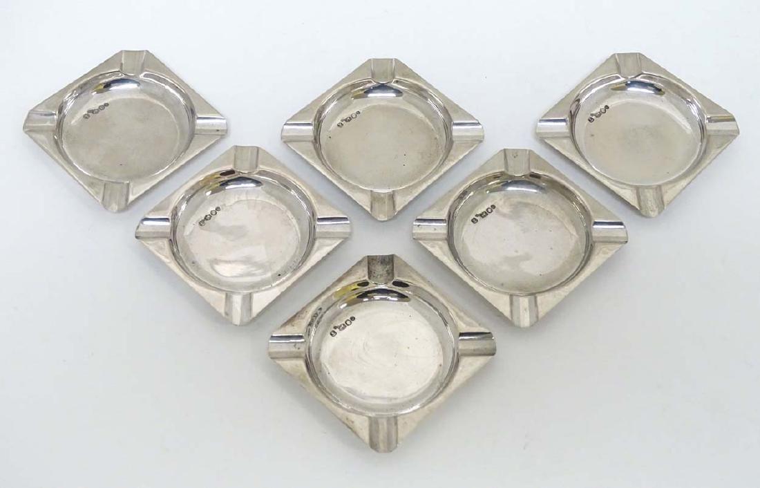 6 Dutch Continental silver ashtrays. Approx 2 3/8'' sq