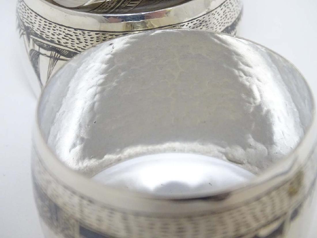 Two short silver candlesticks. Hallmarked Birmingham / - 7