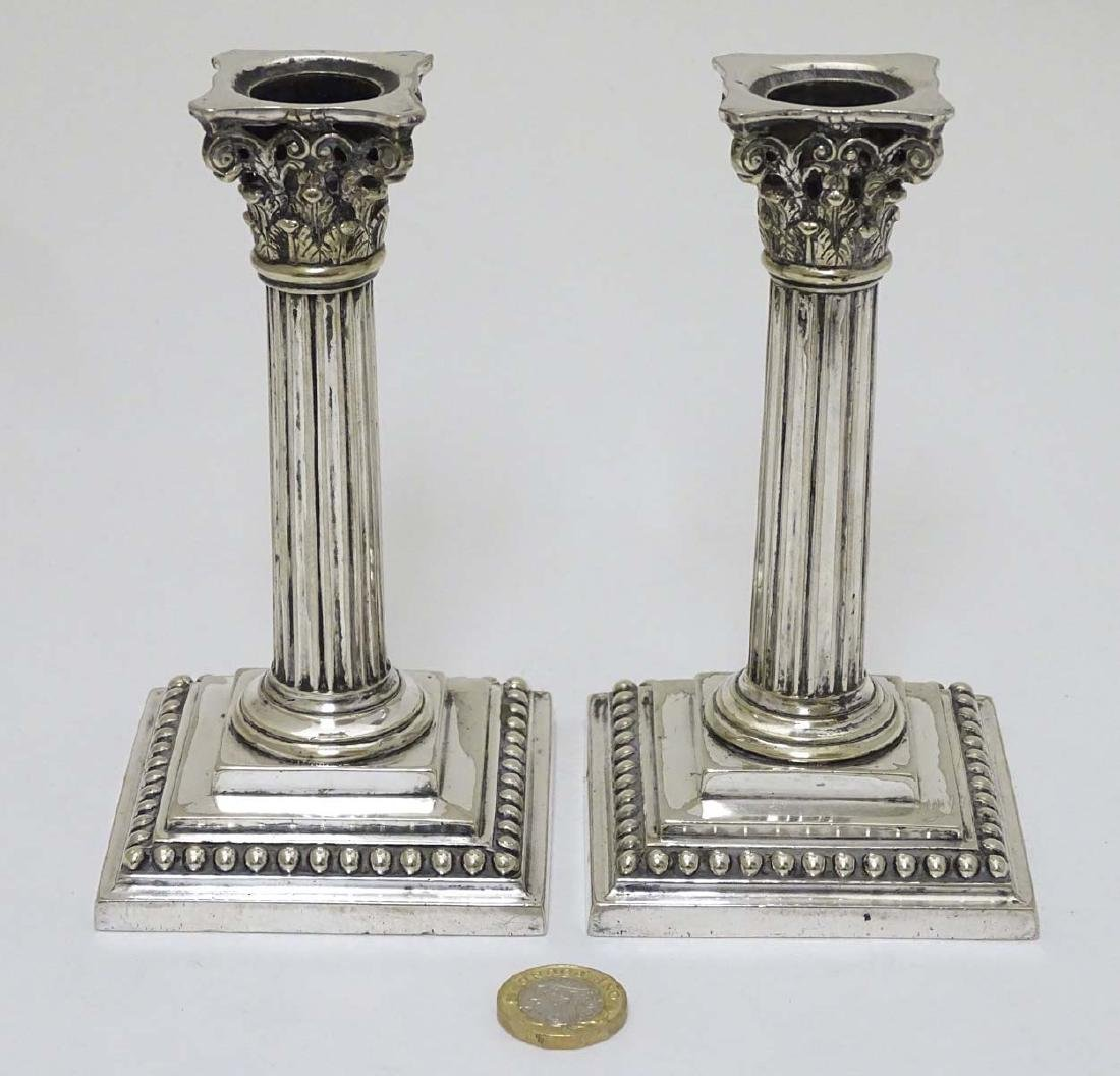 A pair of silver plate candlesticks of Corinthian - 3