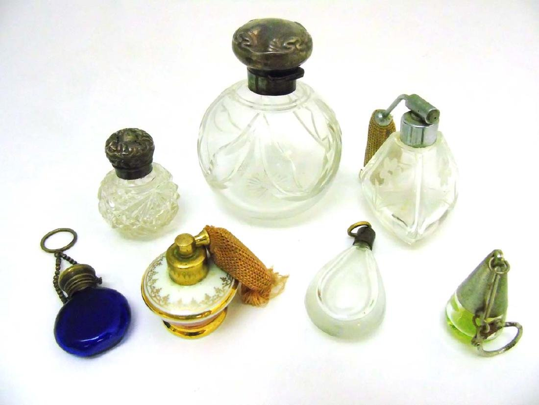 Glass Scent bottles : to include two HM Silver scent
