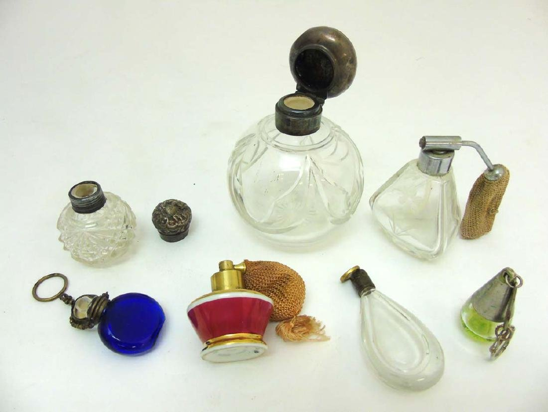 Glass Scent bottles : to include two HM Silver scent - 3