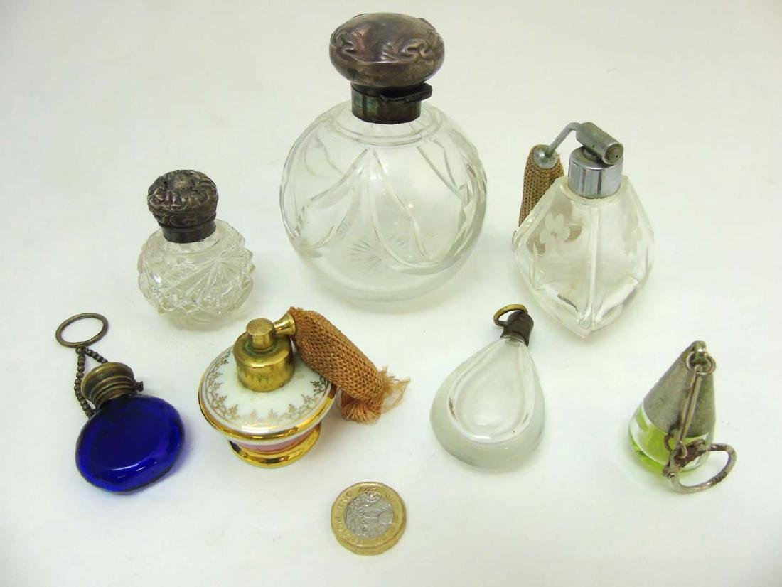 Glass Scent bottles : to include two HM Silver scent - 6