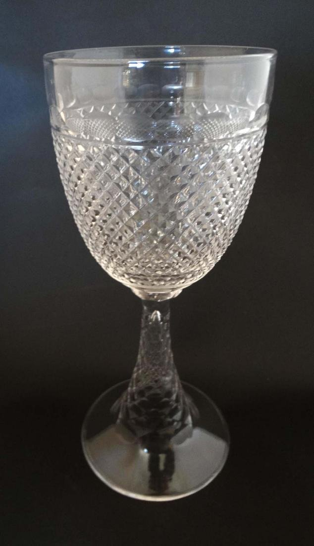 A c 1900 large cut glass pedestal goblet , with diamond