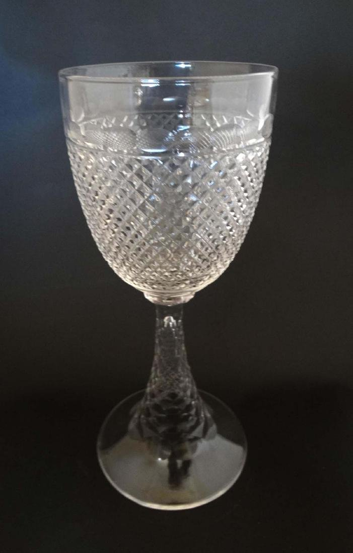A c 1900 large cut glass pedestal goblet , with diamond - 2