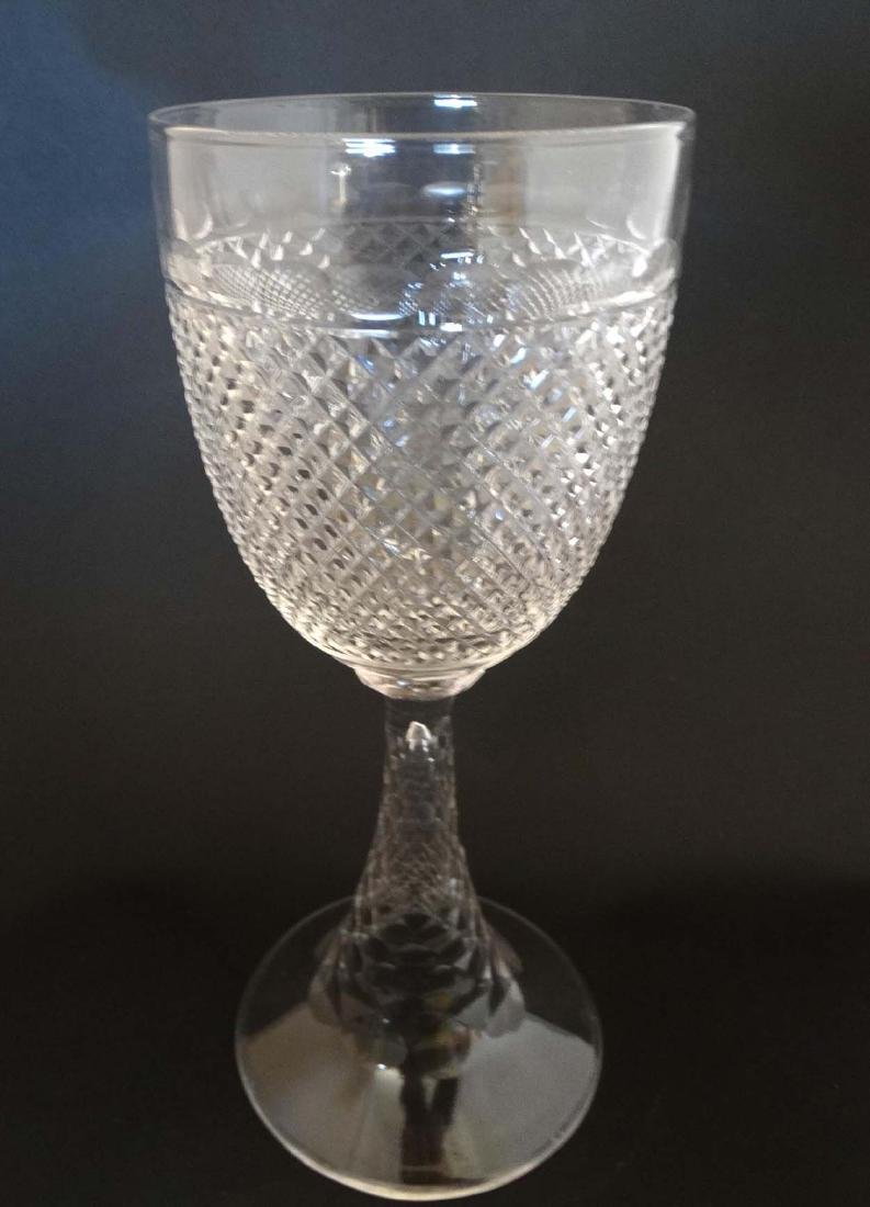 A c 1900 large cut glass pedestal goblet , with diamond - 5