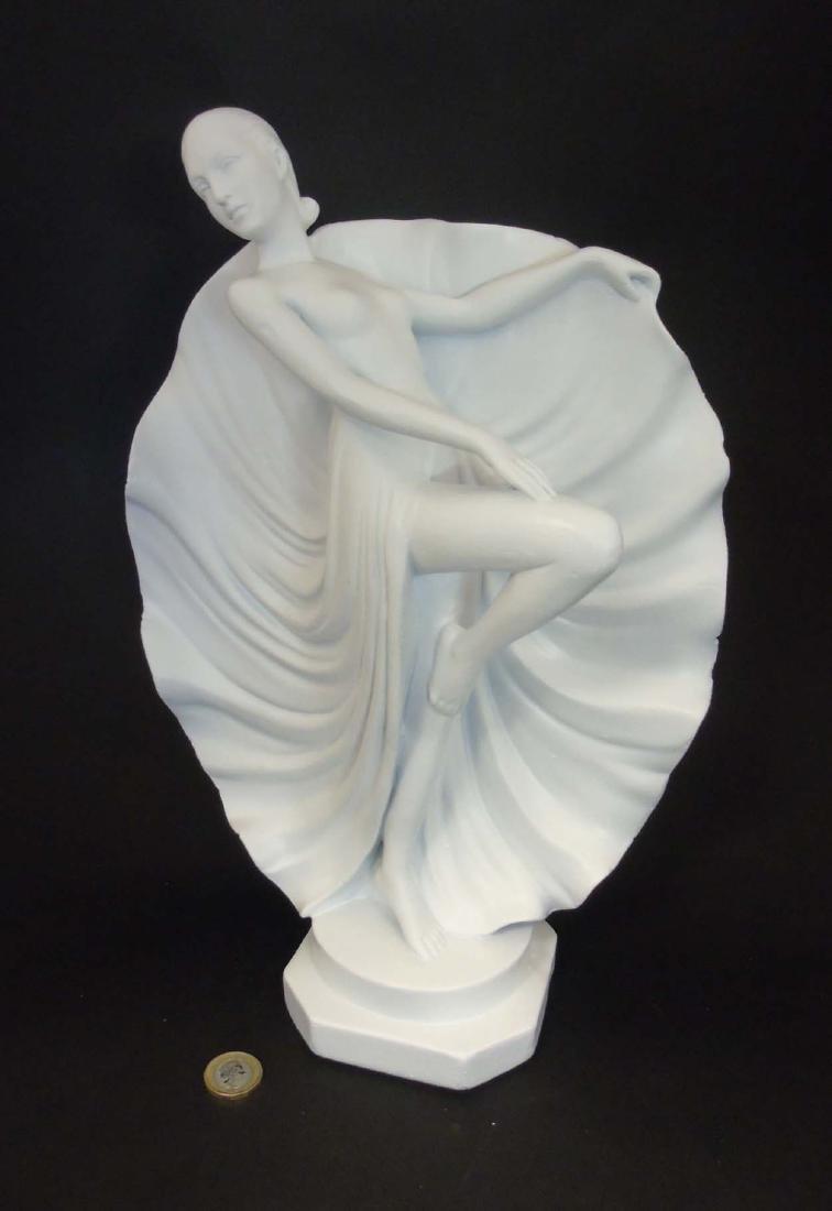 A c1937 Art Deco white plaster sculpture of a dancer,