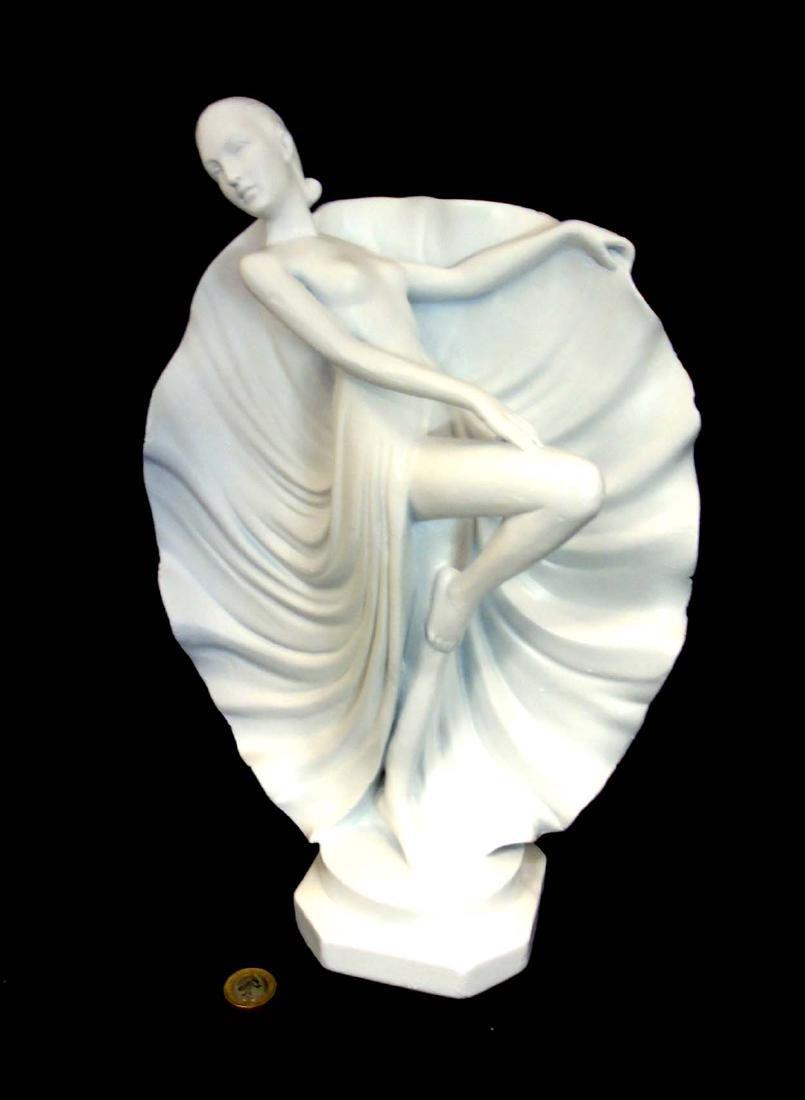 A c1937 Art Deco white plaster sculpture of a dancer, - 3