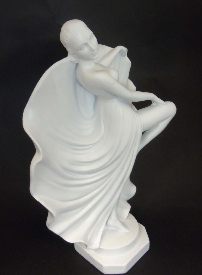 A c1937 Art Deco white plaster sculpture of a dancer, - 4