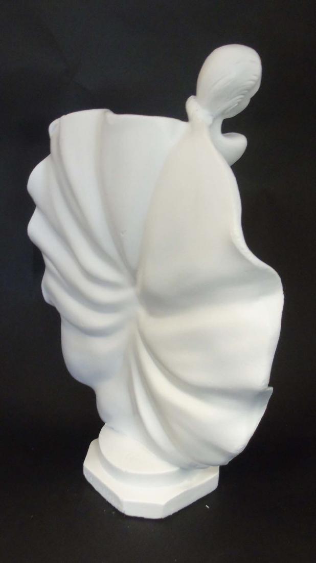 A c1937 Art Deco white plaster sculpture of a dancer, - 5