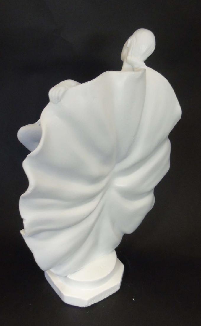 A c1937 Art Deco white plaster sculpture of a dancer, - 6