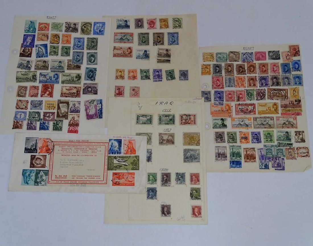 Stamps: Small lot of Iraq and Egypt stamps on four