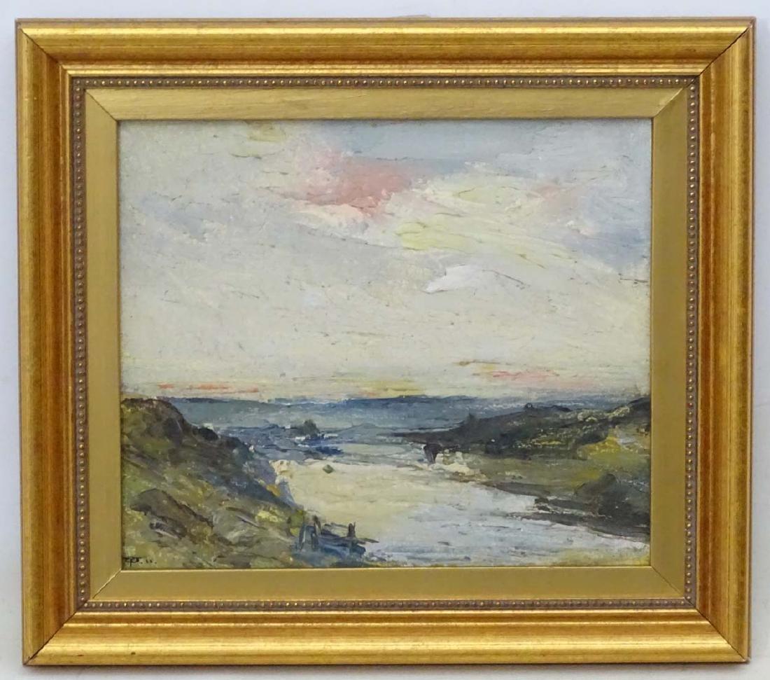 Early XX English School, Oil on board, River Landscape,