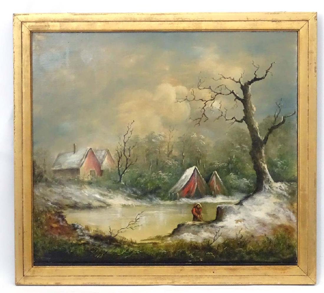 C.1930 Continental School, Oil on canvas, A frozen