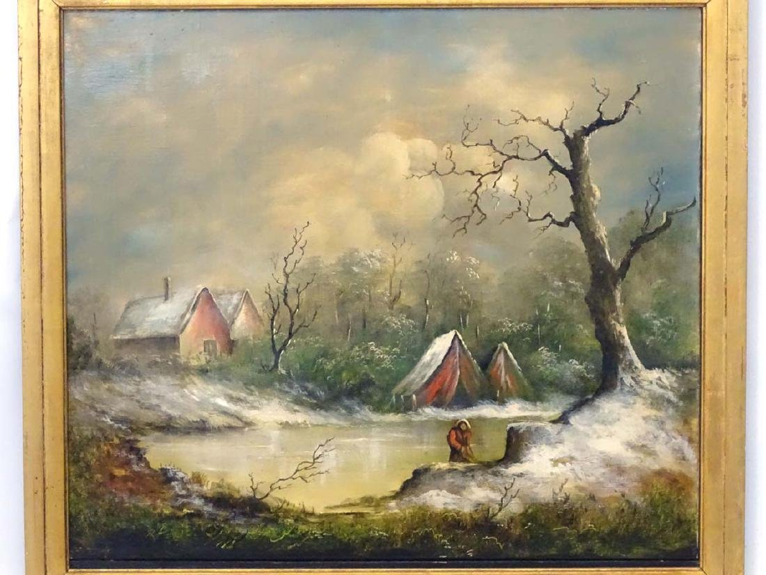 C.1930 Continental School, Oil on canvas, A frozen - 4