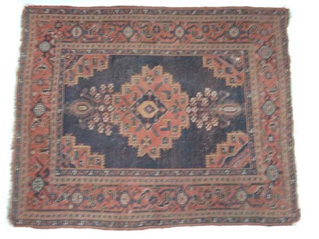 Carpet / Rug: An old Afghanistan rug with mainly dark - 2