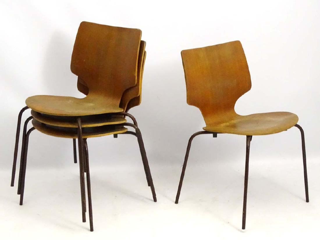 Vintage Retro: A set of 4 circa 1960 Stacking  chairs