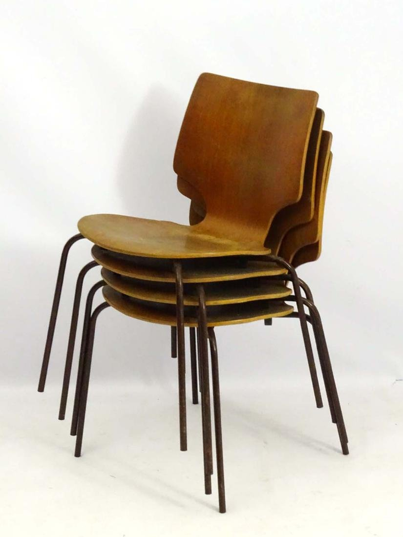 Vintage Retro: A set of 4 circa 1960 Stacking  chairs - 3