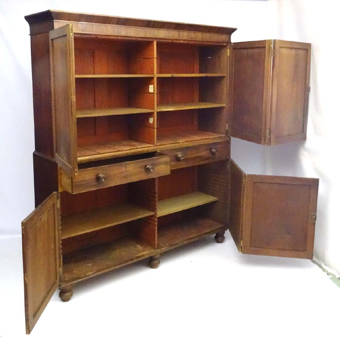 A late 19thC mahogany large two sectional cupboard, - 5