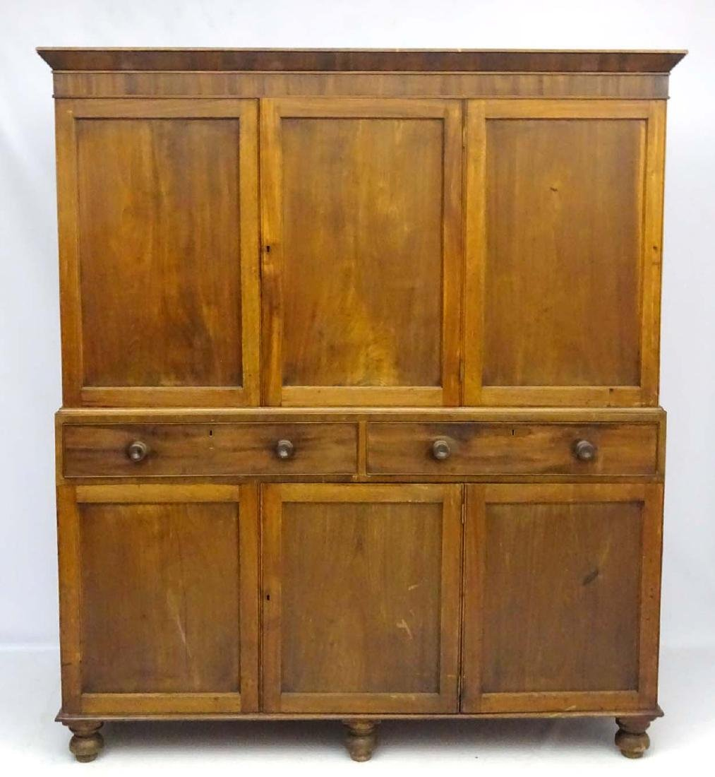 A late 19thC mahogany large two sectional cupboard, - 7
