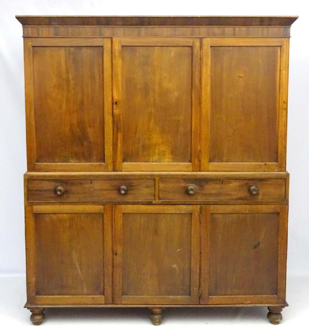 A late 19thC mahogany large two sectional cupboard, - 8