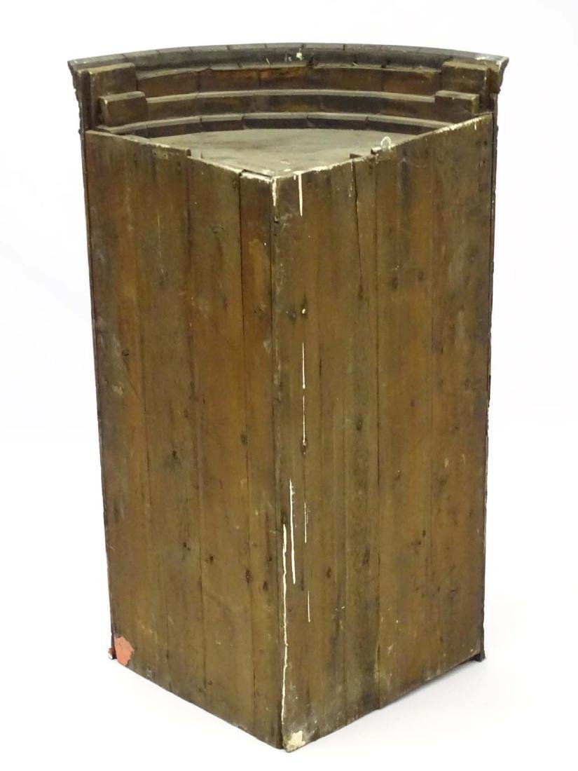 A late 18thC oak bow fronted corner cupboard with - 2