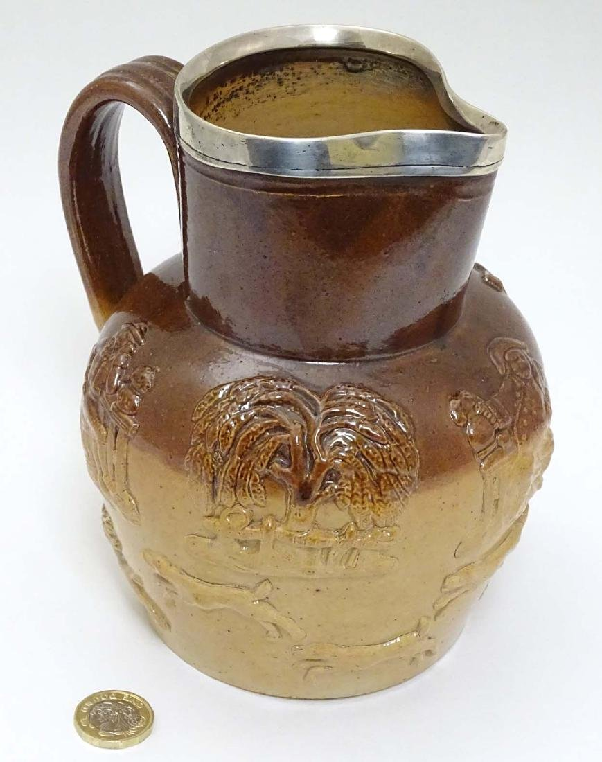 A Victorian stoneware salt glazed hunting jug with - 3