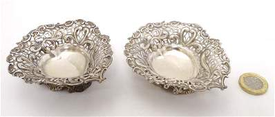 A matched pair of Victorian silver bon bon dishes of