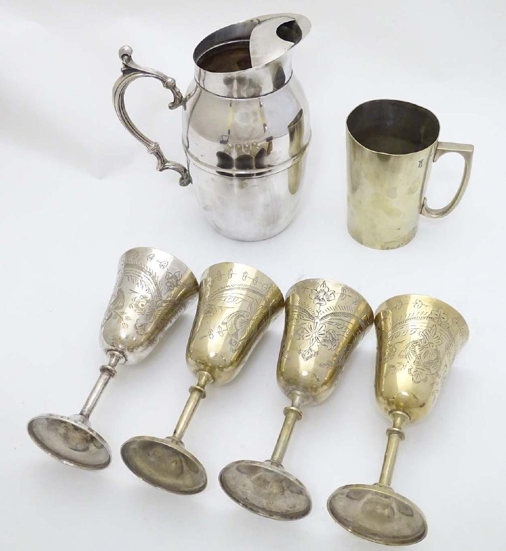 Assorted silver plated wares to include tankard, ice