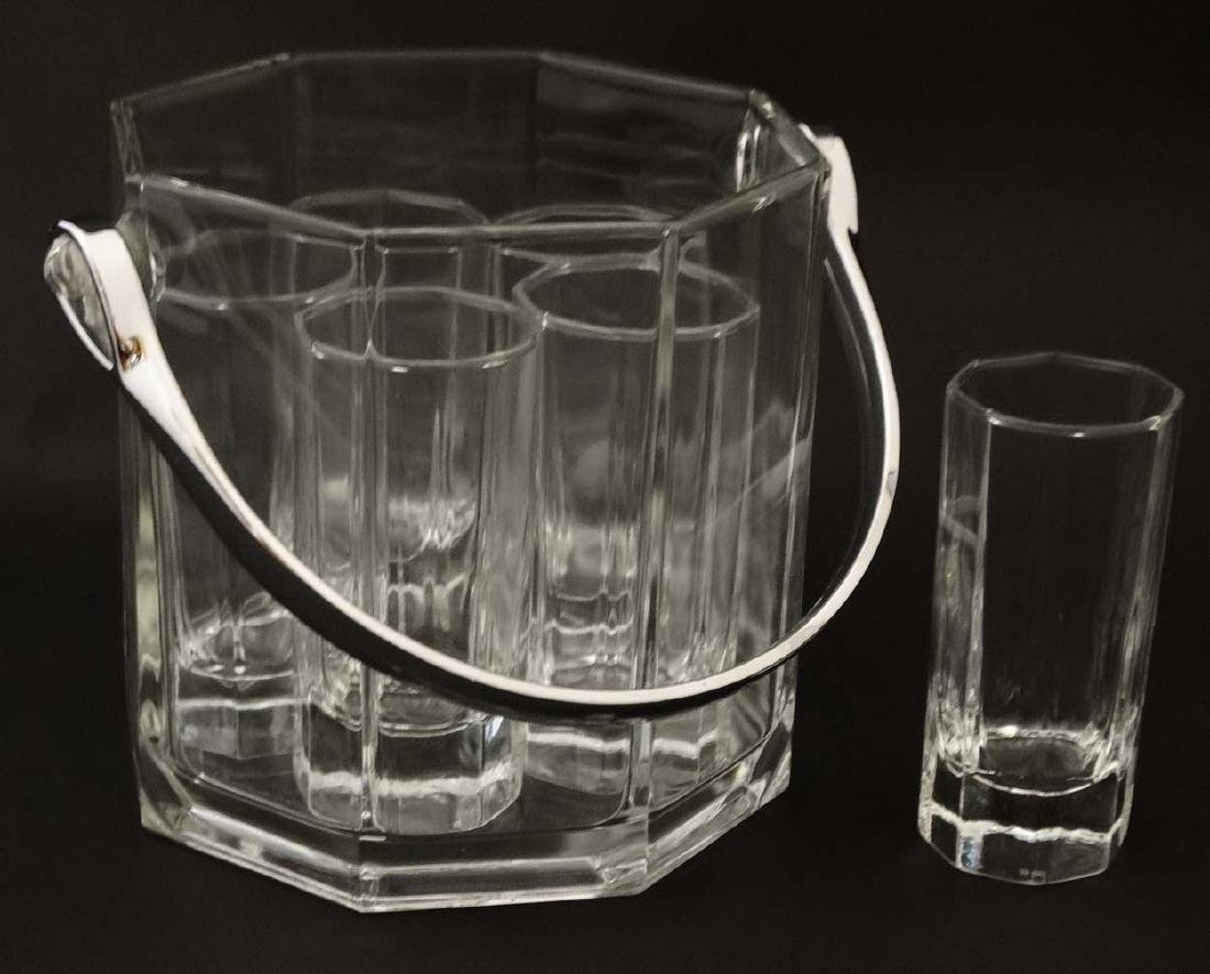 An octagonal glass ice bucket together with 6 octagonal - 2