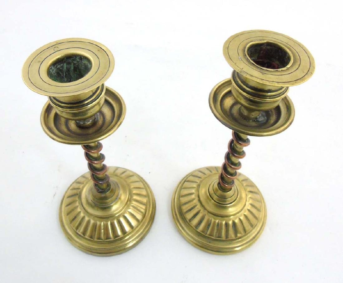 Arts and Crafts copper and brass candlesticks, the - 4