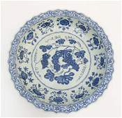 A Chinese blue and white Grape dish  charger A