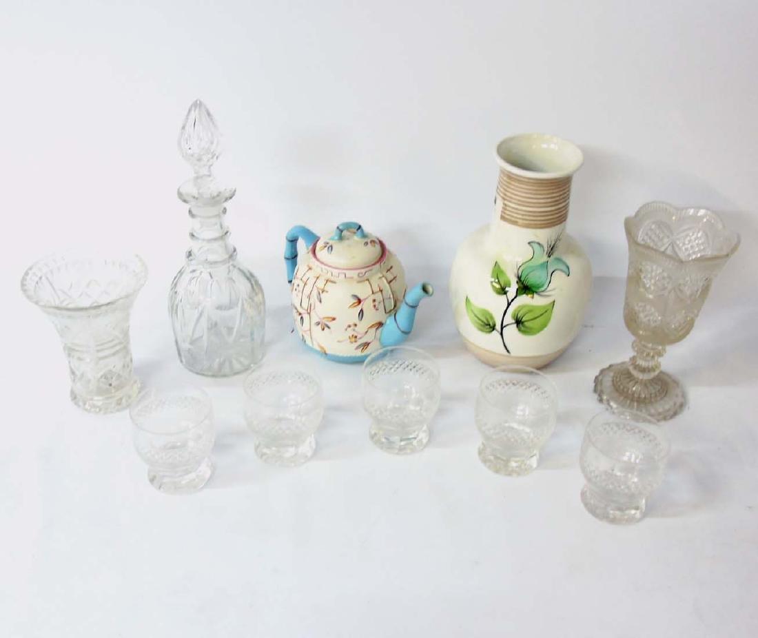 A quantity of assorted glass and ceramics comprising, a