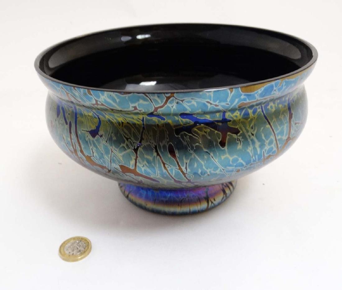 A Royal Brierley iridescent studio art glass bowl in
