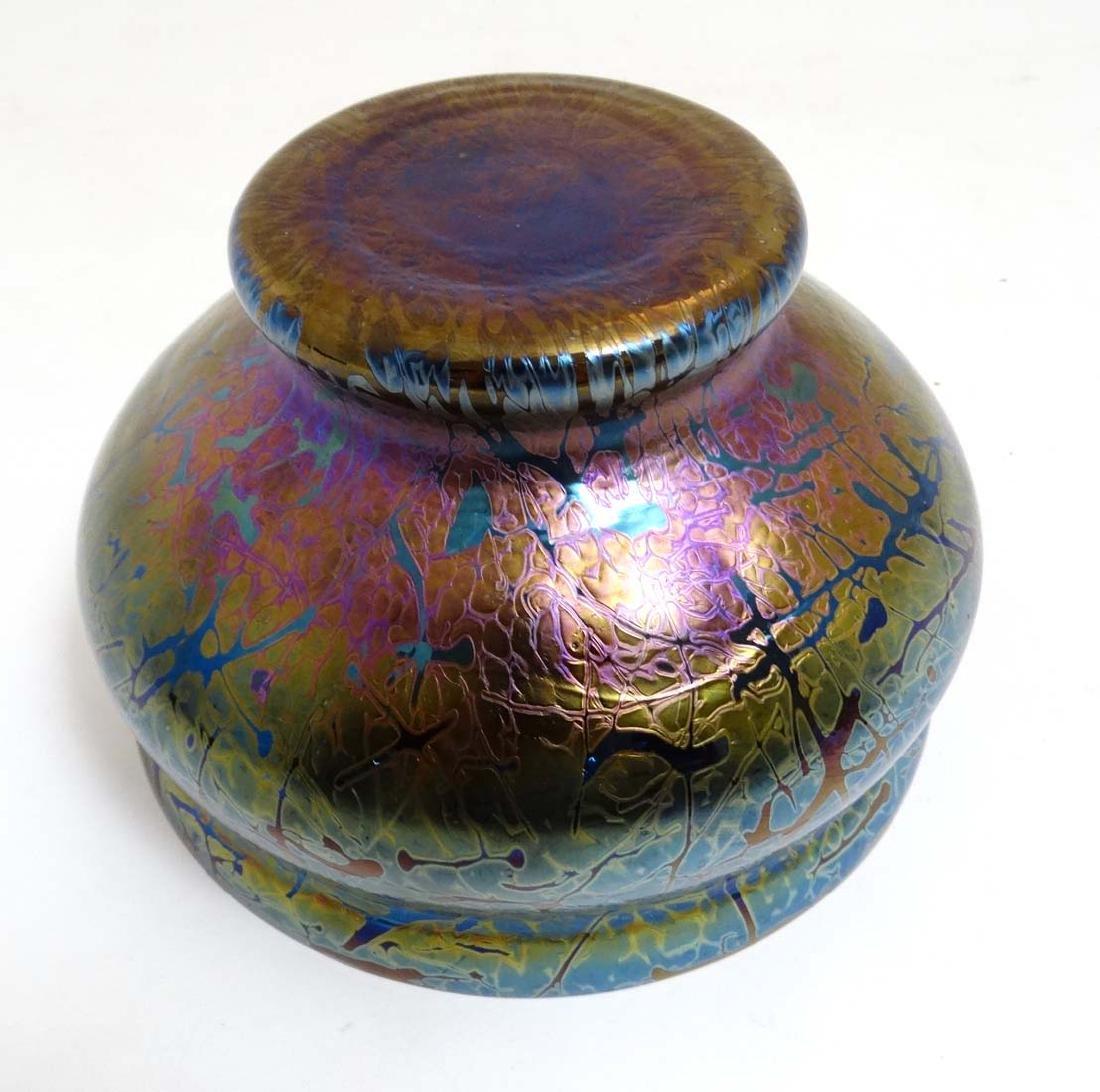 A Royal Brierley iridescent studio art glass bowl in - 5