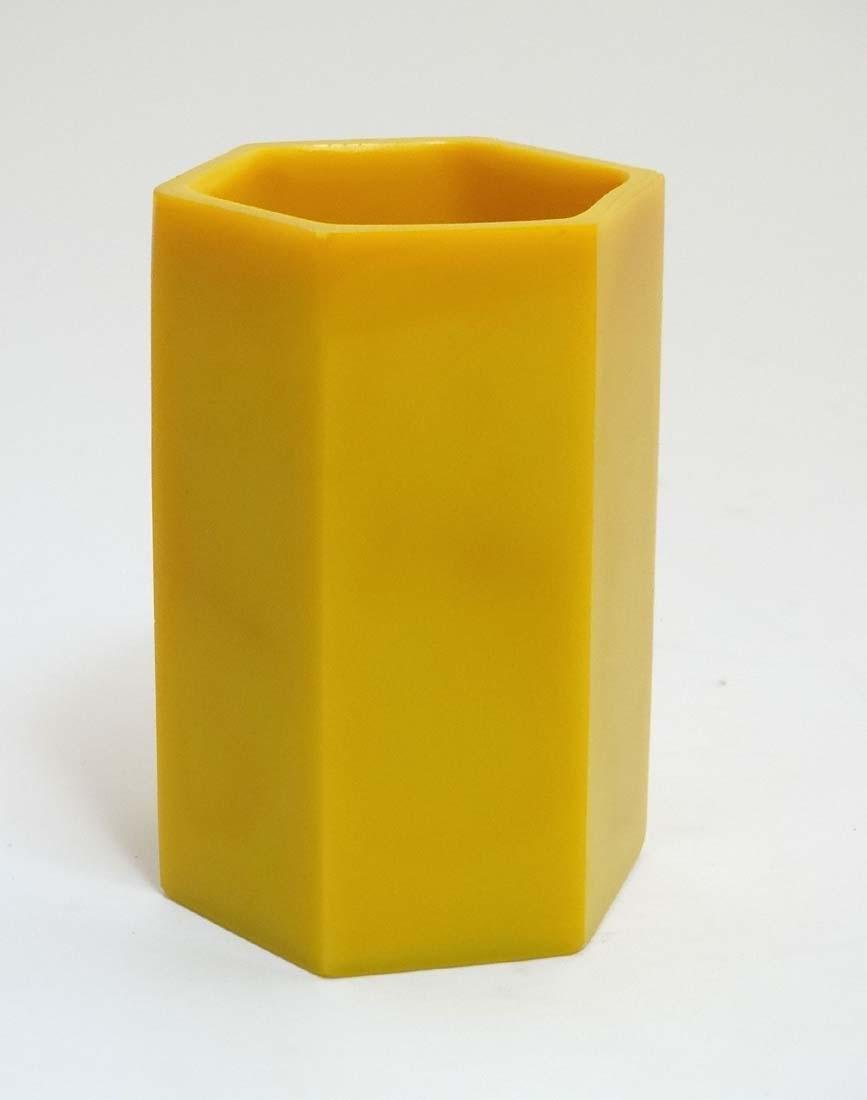 A Chinese yellow Peking glass brush pot of hexagonal