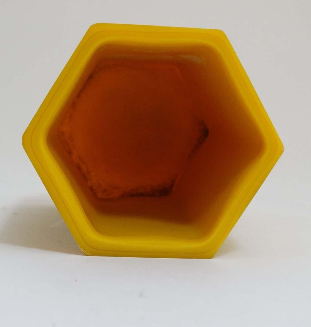 A Chinese yellow Peking glass brush pot of hexagonal - 2