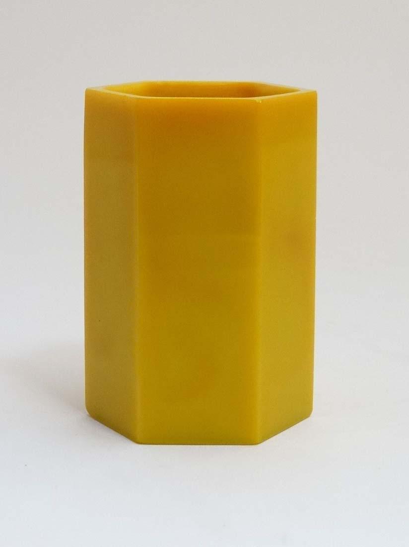 A Chinese yellow Peking glass brush pot of hexagonal - 4