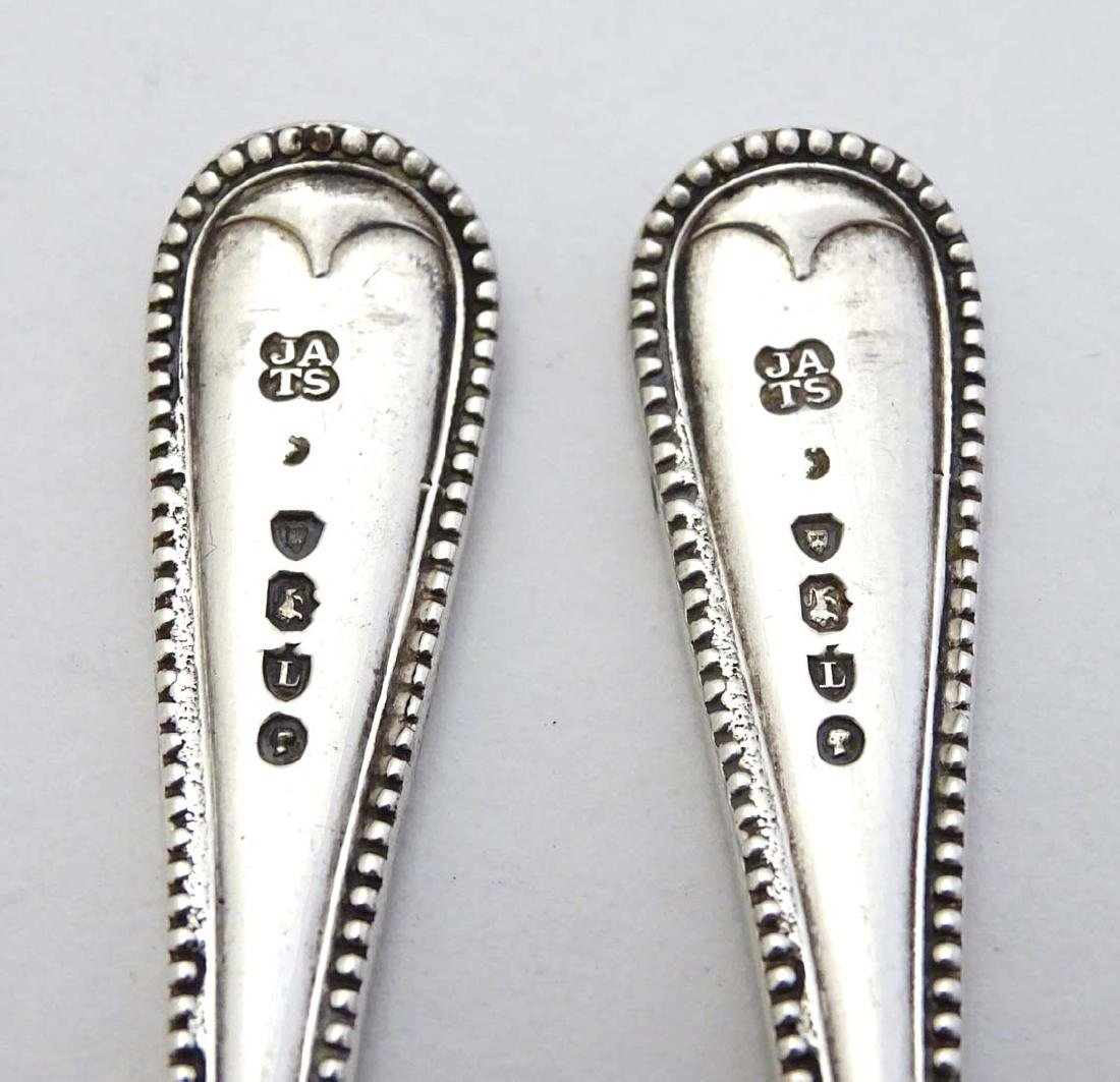 A pair of Victorian silver bead edge salt spoons - 2
