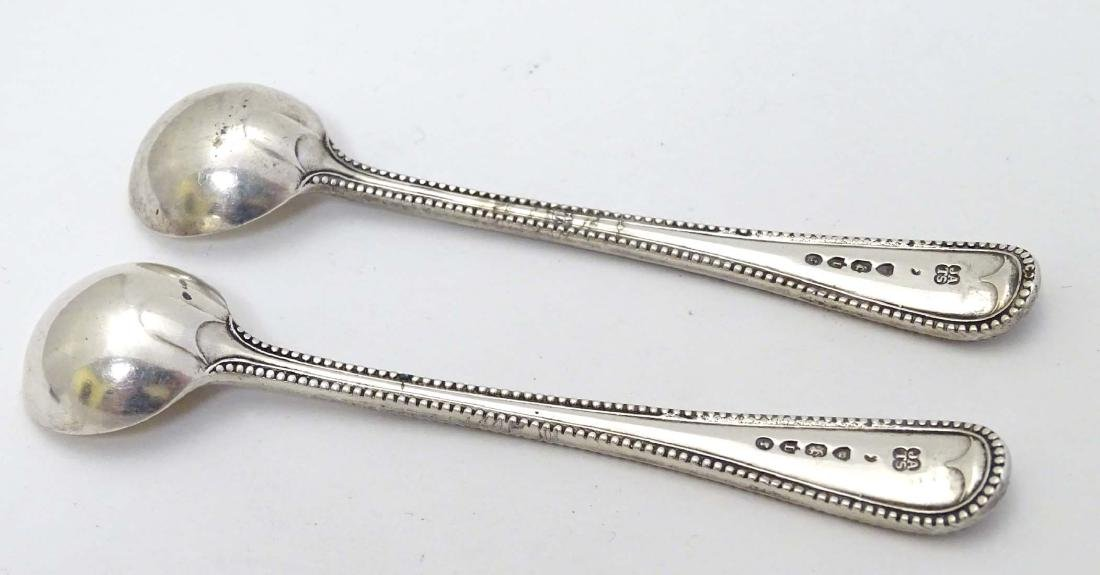 A pair of Victorian silver bead edge salt spoons - 5