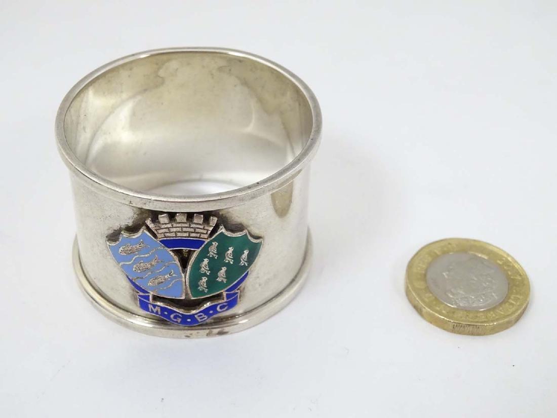 A silver napkin ring  hallmarked Birmingham 1936 maker - 4
