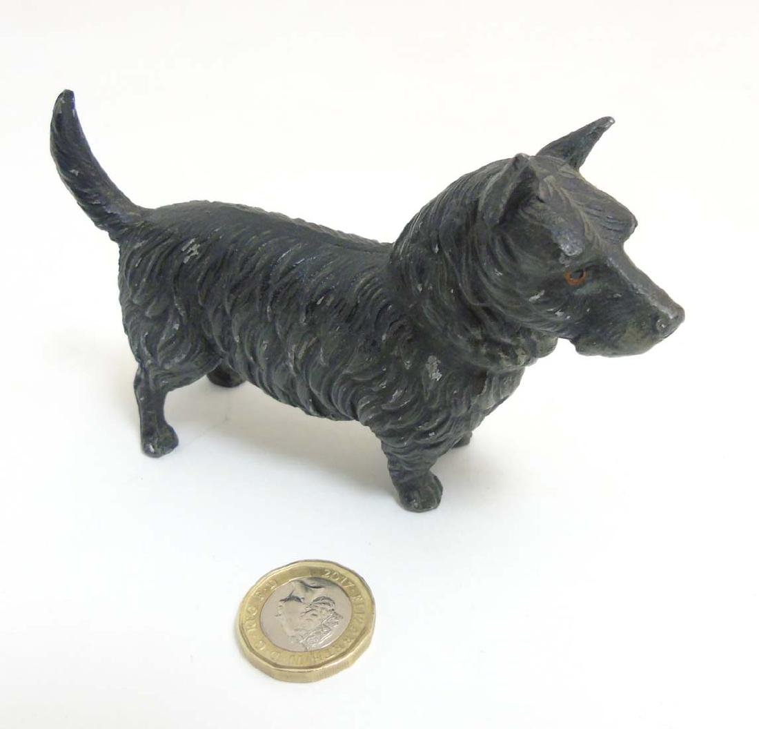 A Victorian cold painted base metal model of a terrier - 2
