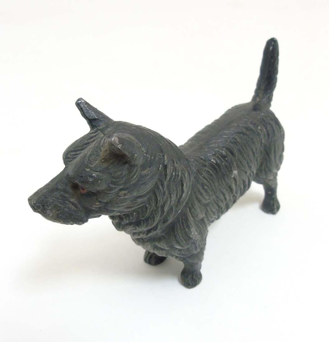 A Victorian cold painted base metal model of a terrier - 3